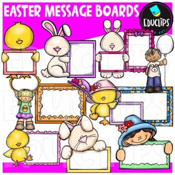 Easter Message Boards Clip Art Bundle {Educlips Clipart}