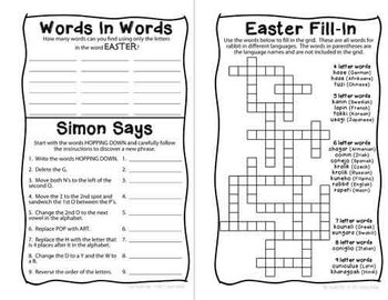 Easter Mini Puzzle Book for Sixth Graders