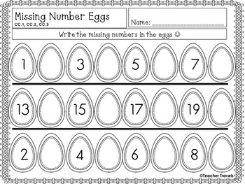 Easter Missing Number 1-20 Flashcards and Worksheets