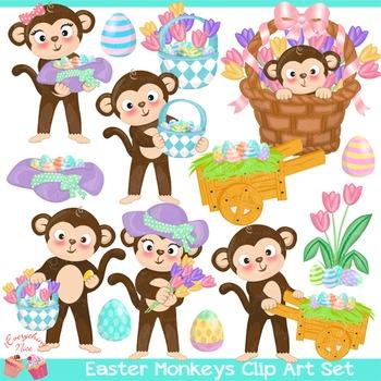 Easter Monkeys Clipart Set