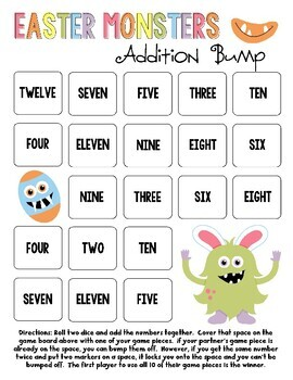 Easter Monsters Addition Bump Games