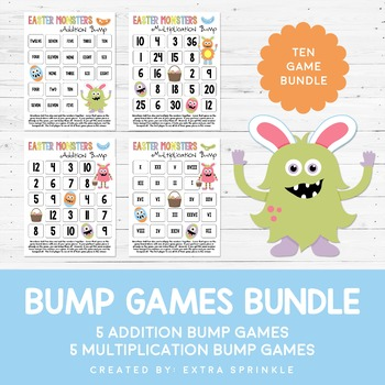 Easter Monsters Addition & Multiplication Bump Games Bundle