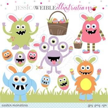 Easter Monsters Cute Digital Clipart, Easter Monster Clip Art