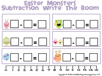 Easter Monsters Subtraction - A Differentiated Write The Room Activity