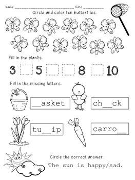 Kindergarten & 1st Morning Work *Easter*