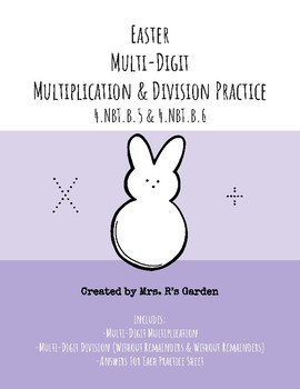 Easter Multi-Digit Multiplication & Division (Without & With Remainder) Practice