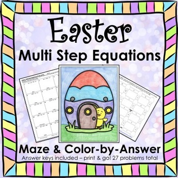 Spring Easter Math Multi Step Equations Maze & Color by Number Bundle