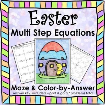 Easter Multi Step Equations Maze & Color by Number Bundle