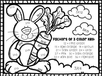 Easter Multiplication Color-By-Number