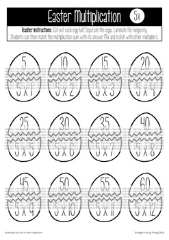 Easter Multiplication Eggs Match-Up