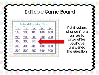 Easter Multiplication Game - Similar to Jeopardy