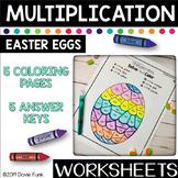 Easter Multiplication Coloring Worksheets Math Eggs