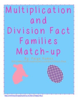 Easter Multiplication and Division Fact Families
