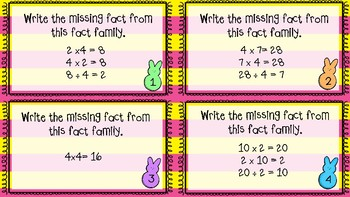 Easter Multiplication and Division Fact Family Task Cards