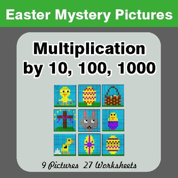 Easter: Multiplication by 10, 100, 1000 - Color-By-Number Math Mystery Pictures