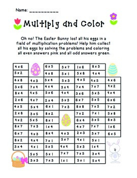 Easter Multiply and Color Activity