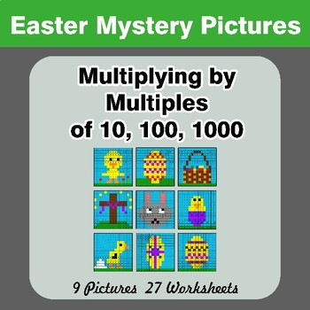 Easter: Multiplying by Multiples of 10, 100, 1000 - Math Mystery Pictures