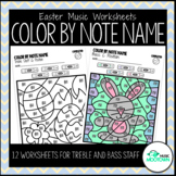 Easter Music Worksheets: Color by Note Name