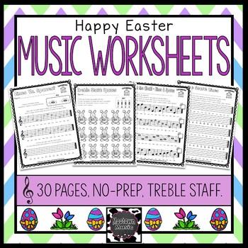 Easter Music Worksheets - Treble Staff