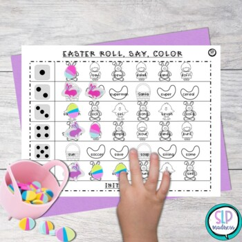 Easter NO PREP Articulation Roll Say Color Sound Practice Speech Therapy