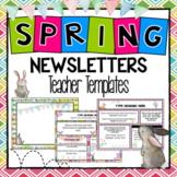 Spring and April Teacher Newsletter Templates Editable