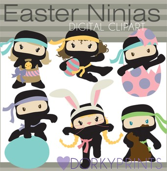 Easter Ninjas Digital Clip Art