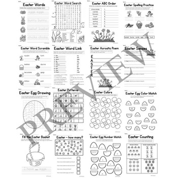 Easter No Prep Literacy and Math Activity Packet for Grade K or 1