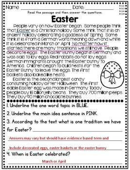 Easter Reading Comprehension Passage - Nonfiction FREE
