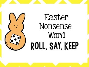 Easter Nonsense CVC Word Game Roll, Say, Keep
