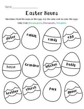 Easter Noun Worksheet