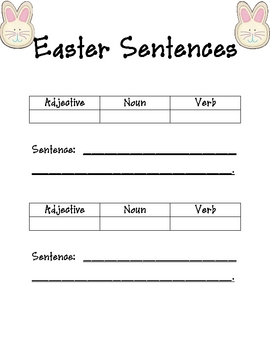 Easter:  Nouns, Adjectives, Verbs, and Creating Sentences