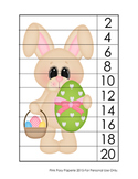 Easter Number Counting Strip Puzzles - 5 Different Designs - Skip by 2