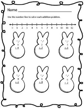 Easter Number Line Addition Worksheets