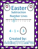 Easter Number Line Subtraction Worksheets