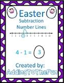 Easter Number Line Subtraction Worksheets