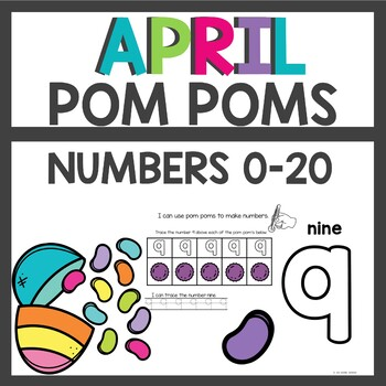 Easter Number Practice with fuzzy Pom Poms
