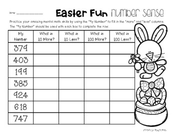 Easter Number Sense: 10 More, 10 Less, 100 More, 100 Less
