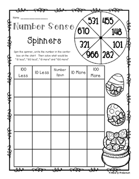 Easter Number Sense: 10 More, 10 Less, 100 More, 100 Less Spinners