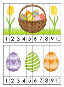 Easter Number Counting Strip Puzzles - 5 Different Designs