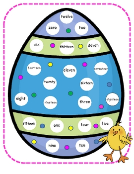 Easter Number Word Mat Center