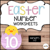 Easter Number Worksheets 1-10