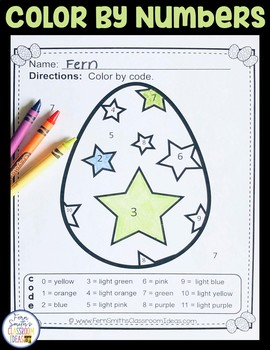 Color By Code Easter Eggs Numbers and Colors