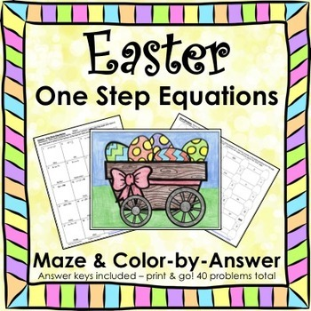 Spring Easter Math One Step Equations (Negatives) Maze & Color by Number Bundle