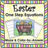 Solving Equations Spring Easter Math One Step Equations Maze Color by Number Set
