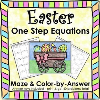Easter Spring One Step Equations (Negatives) Maze & Color