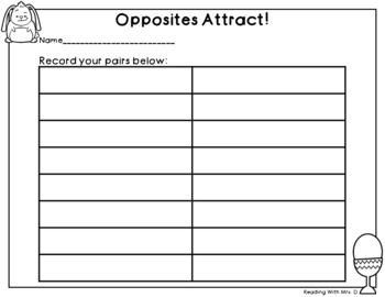 Easter Opposites Antonym Game PLUS Recording Page