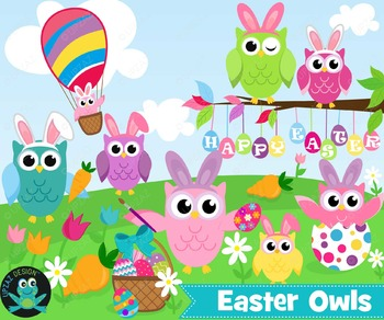 Easter Owl Clipart, Instant Download, Commercial Use - UZ879
