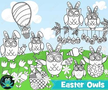 Easter Owl Line Art, Instant Download - UZ879B