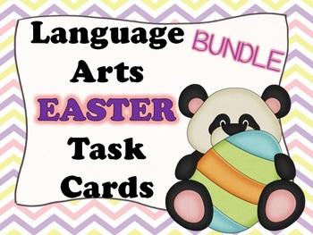 LANGUAGE ARTS: Easter PANDAS Language Arts Task Cards BUNDLE