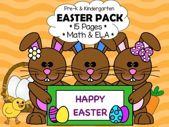 Easter Activities for Preschool/Kindergarten Pack - Math & ELA (No Prep!)